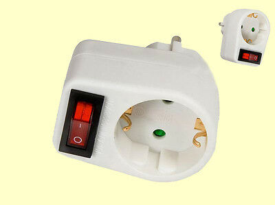 Schuko Plug adapter Plug with switch Power switch 1 socket switchable