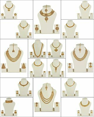 Indian 22K Gold Plated Wedding Necklace Earrings Jewelry Set Variations 12'' Set