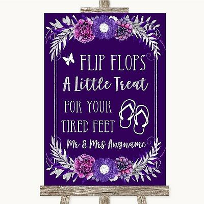 Purple & Silver Flip Flops Dancing Shoes Personalised Wedding Sign