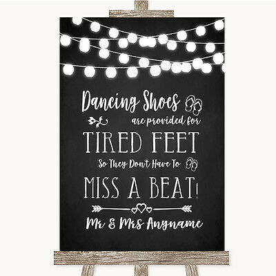 Chalk Style Black & White Lights Dancing Shoes Flip-Flop Tired Feet Wedding Sign