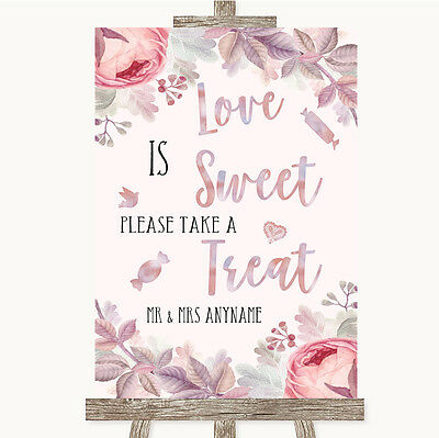 Blush Rose Gold & Lilac Love Is Sweet Take A Treat Candy Buffet Wedding Sign