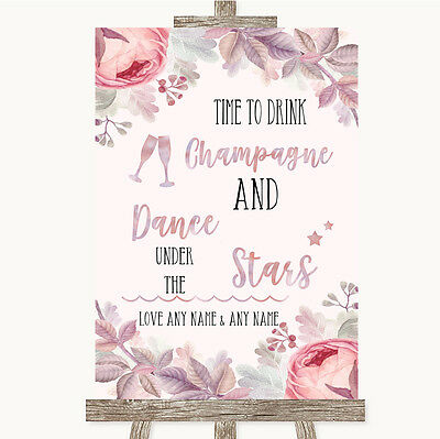 Blush Rose Gold & Lilac Drink Champagne Dance Stars Personalised Wedding Sign