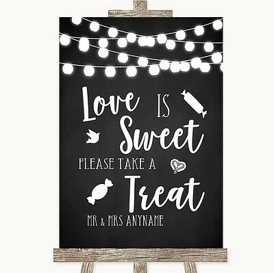 Chalk Black White Lights Love Is Sweet Take A Treat Candy Buffet Wedding Sign