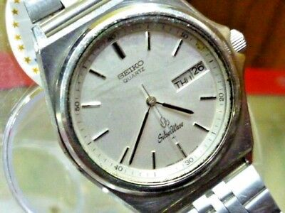 SEIKO Silver Wave 34mm 6 jewel Quartz  5933-7010  SS Strap 1982 Vintage