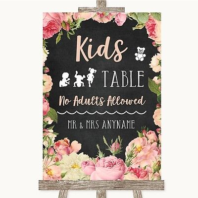 Chalkboard Style Pink Roses Kids Table Personalised Wedding Sign