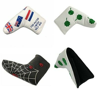 PU Leather Golf Iron Club Putter Head Covers Headcovers Protector Case Sock Set
