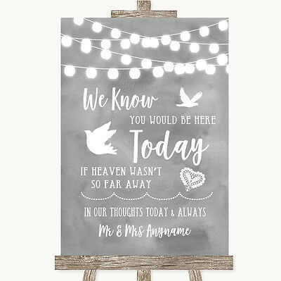 Grey Watercolour Lights Loved Ones In Heaven Personalised Wedding Sign