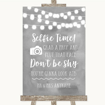 Grey Watercolour Lights Selfie Photo Prop Personalised Wedding Sign