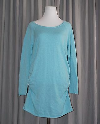 Womens Large Knit Sweater LIZ LANGE Target Maternity Aqua Ruched Pullover Tunic