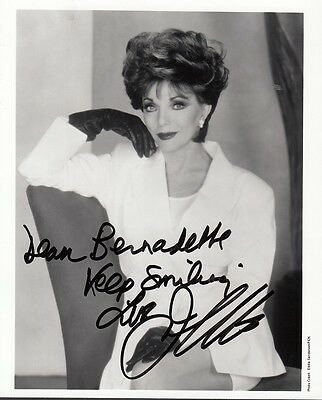 "JOAN COLLINS  - 6"" x 4.5"" Portrait Photo PERSONALLY SIGNED To BERNADETTE  F#21"