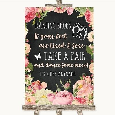 267a1d1a9652 Chalkboard Style Pink Roses Dancing Shoes Flip Flops Personalised Wedding  Sign