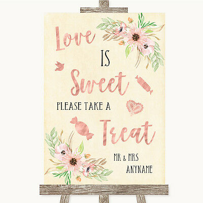 Blush Peach Floral Love Is Sweet Take A Treat Candy Buffet Wedding Sign