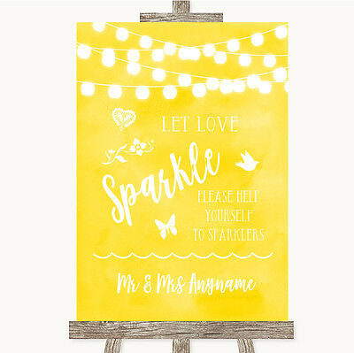 Yellow Watercolour Lights Let Love Sparkle Sparkler Send Off Wedding Sign
