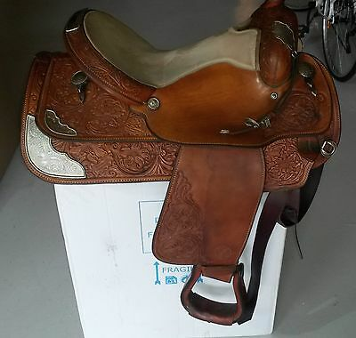"""CIRCLE Y 2451 15,5"""" - Selle de cheval Western Saddle Made in Texas USA *TBE*"""