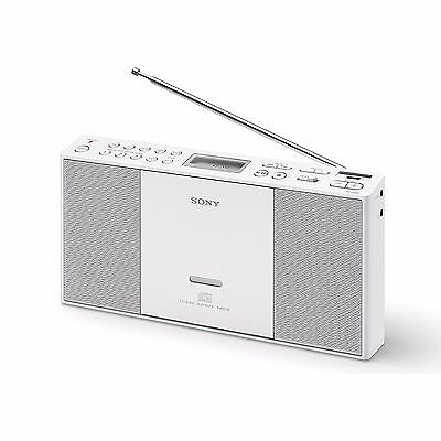 Sony ZS-PE60 Slim Compact FM AM-Radio MP3 USB Boombox Portable CD Player - White