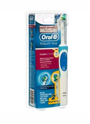 Oral B Vitality Plus FlossAction Rechargeable Electric Toothbrush w/ 2 Brush Hea