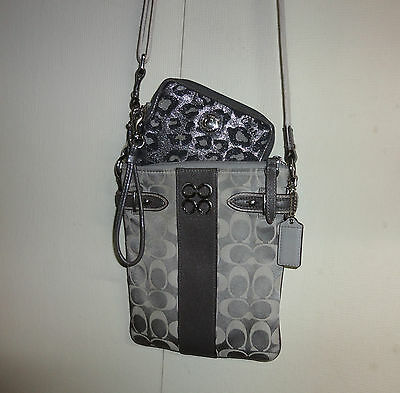 Authentic Coach Small Signature Gray Crossbody and Coin Purse