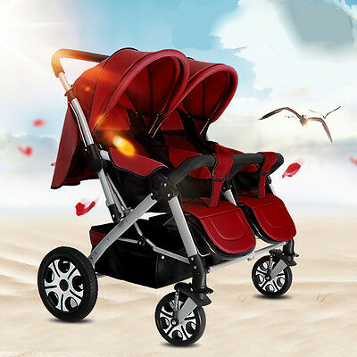 Red 2 Babies 4 Wheels Two-way Push Pram Twins Portable Folding Baby's Strollers