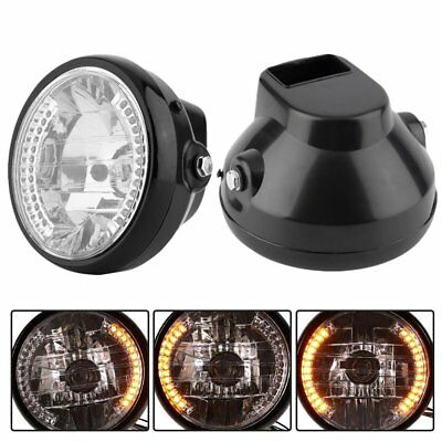 "7"" H4 35W Motorcycle Headlight LED Turn Signal Yellow Light Universal CL"