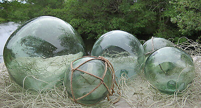 Japanese Glass Fishing FLOATS Mixed WP Marks Net LOT-5 Beginner Collector Vntg!