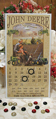 Tin Sign Magnetic Ring Calendar JOHN DEERE 3RD CENTURY FARM TRACTORS IMPLEMENTS