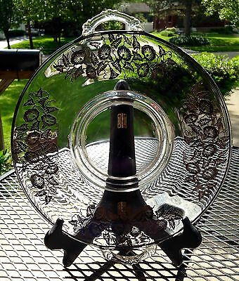 Antique Sterling Silver Overlay Clear Glass Handled Cake Plate with Petunias