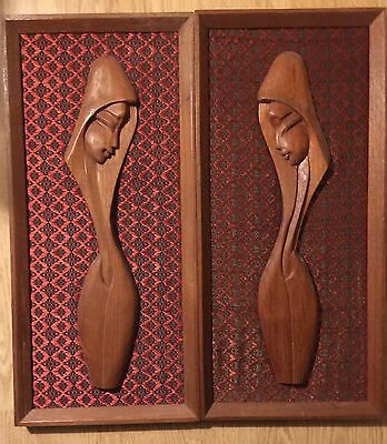 Art, Carved Teak Religious Theme,  Madona on Thai Silk, Frames Solid Teak