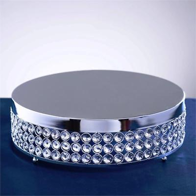 "SILVER METAL 15.5"" wide Cake Stand with Crystal Beads Party Wedding Reception"