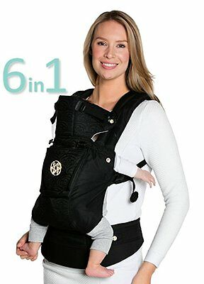 LILLEBABY Complete Embossed LUXE 6-in-1 Baby Carrier Pewter Gold Lumbar Support