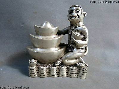 China silver carved fine sculpture Yuan Bao money luck monkey statue
