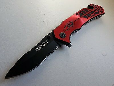 """7 3/4"""" Spring Assisted Opening Rescue Knife Canada Aluminum Grip"""