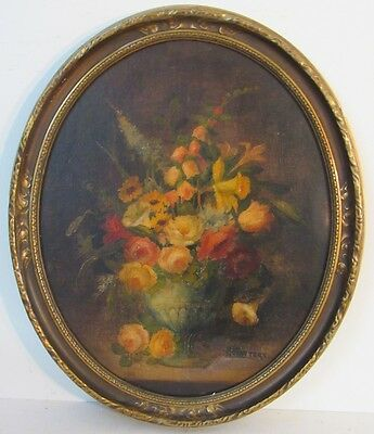 19 Century Antique American Victorian Floral Of Roses Oil Painting On Board