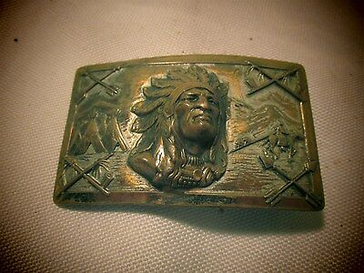 Early 1900's Antique Native American Indian Chief Thick Brass Men's Belt Buckle