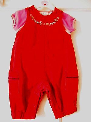 Baby Girls Red Corduroy  Dungaree With New Next Top  3 - 6  Mnths