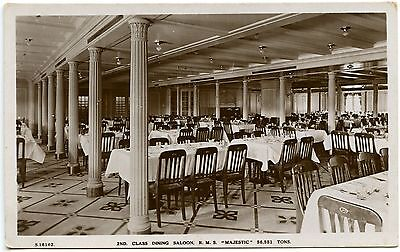 Vintage Postcard RP 2nd Class Dining Saloon RMS Majestic Unused Ref: SA009