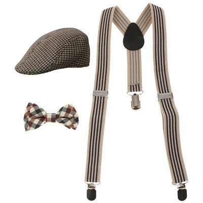 Boys Kids Juniors Suspenders Y-Shape +Bowtie +Houndstooth Baseball Beret Hat
