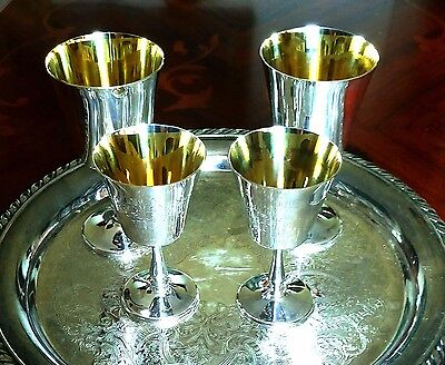 English Silver Plated Goblets 2 Claret And 2 Sherry