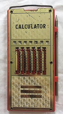 Rare VINTAGE POCKET MECHANICAL CALCULATOR With STYLUS  Made in Japan