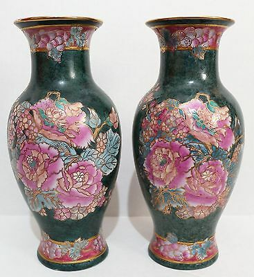 2 Vases Qing Dynasty Moder Rep Chinese Porcelain Green-Pink Flowers Tongzhi Mark