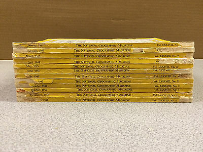 12 Issues of 1945 NATIONAL GEOGRAPHIC MAGAZINE Complete Year (January-December)