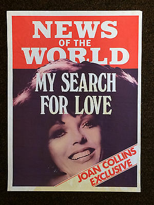 "JOAN COLLINS - RARE 20"" x 15"" Original UK NEWS OF THE WORLD Poster 1979"
