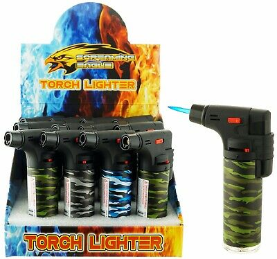 "2 Pack 4"" Jet Flame Quad Torch Laser Wrap Lighter Refillable Lockable Windproof"