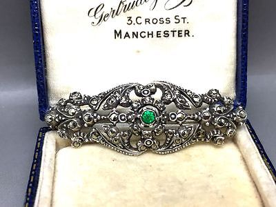 Beautiful Antique Silver 800 Marcasite and Green Stone Brooch