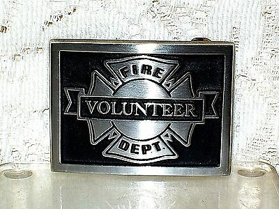 VINTAGE 1970s SAND CAST BRONZE VOLUNTEER FIRE DEPARTMENT BELT BUCKLE~FIREFIGHTER