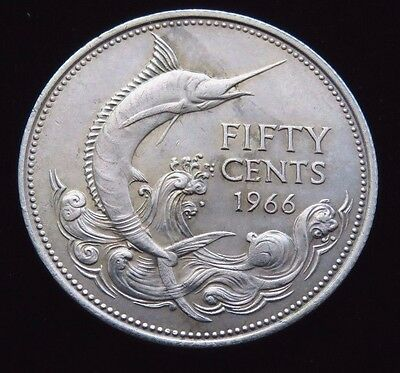 Bright Uncirculated 1966 Bahama Islands Fifty Cents Silver Coin Lot 750