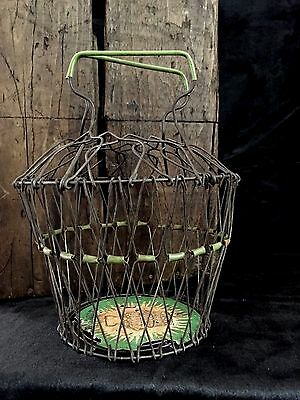Antique RARE 2-Layer COLLAPSIBLE WIRE EGG BASKET French Country Farm VINTAGE Exc