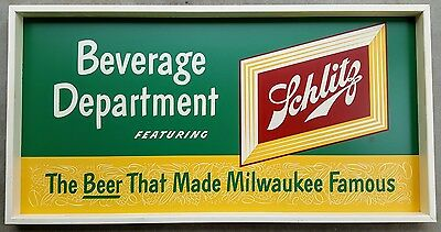 Great Large Schlitz Beer Sign 1940's Or 50's Beverage Department In Original Box
