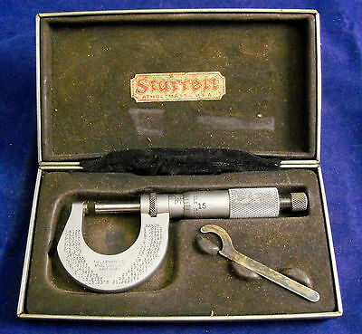Vintage STARRETT MICROMETER NO. 230 WITH WRENCH IN CASE