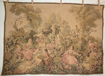 Antique French Tapestry Garden Park Lovers Courting Sketching Floral France 40""