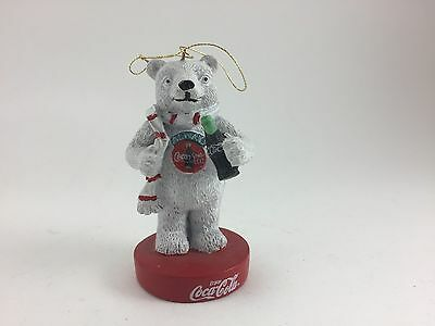 COLLECTIBLE COCA-COLA BEAR CHRISTMAS ORNAMENT 1990s HOLDING BOTTLE OF COKE